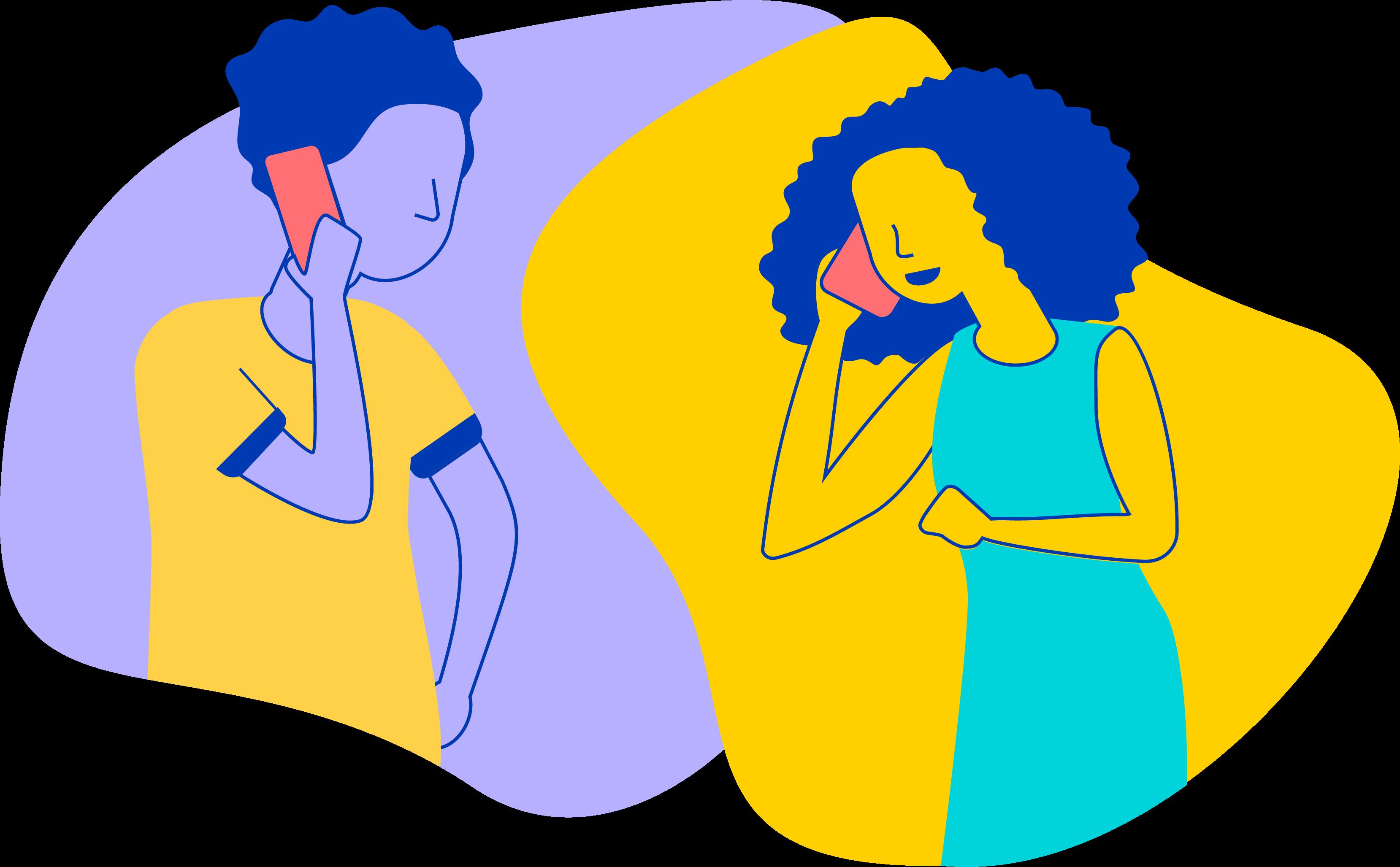 两个人在用手机聊天